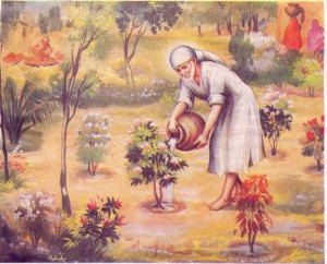Sai Baba watering plants